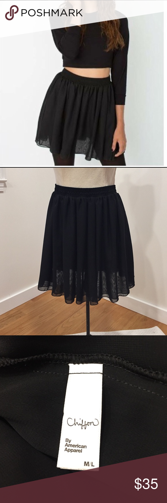American Apparel black chiffon skirt American Apparel black chiffon skirt in size M/L. Worn once, selling because it feels just a bit too short on me for my preferences. Shown on my dress form which is kind of short, so it may look longer - let me know if you would like measurements. Make me an offer! No trades! American Apparel Skirts Mini