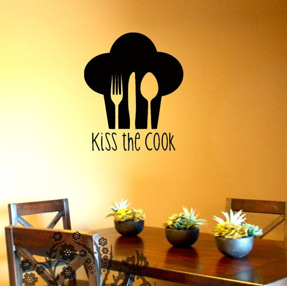 Kiss the Cook - Wall Decals - Wall Vinyl - Wall Decor - Kitchen wall ...