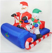 3.9ft Air Inflatable Christmas Santa Claus Sleigh with Led Light Decoration SD56