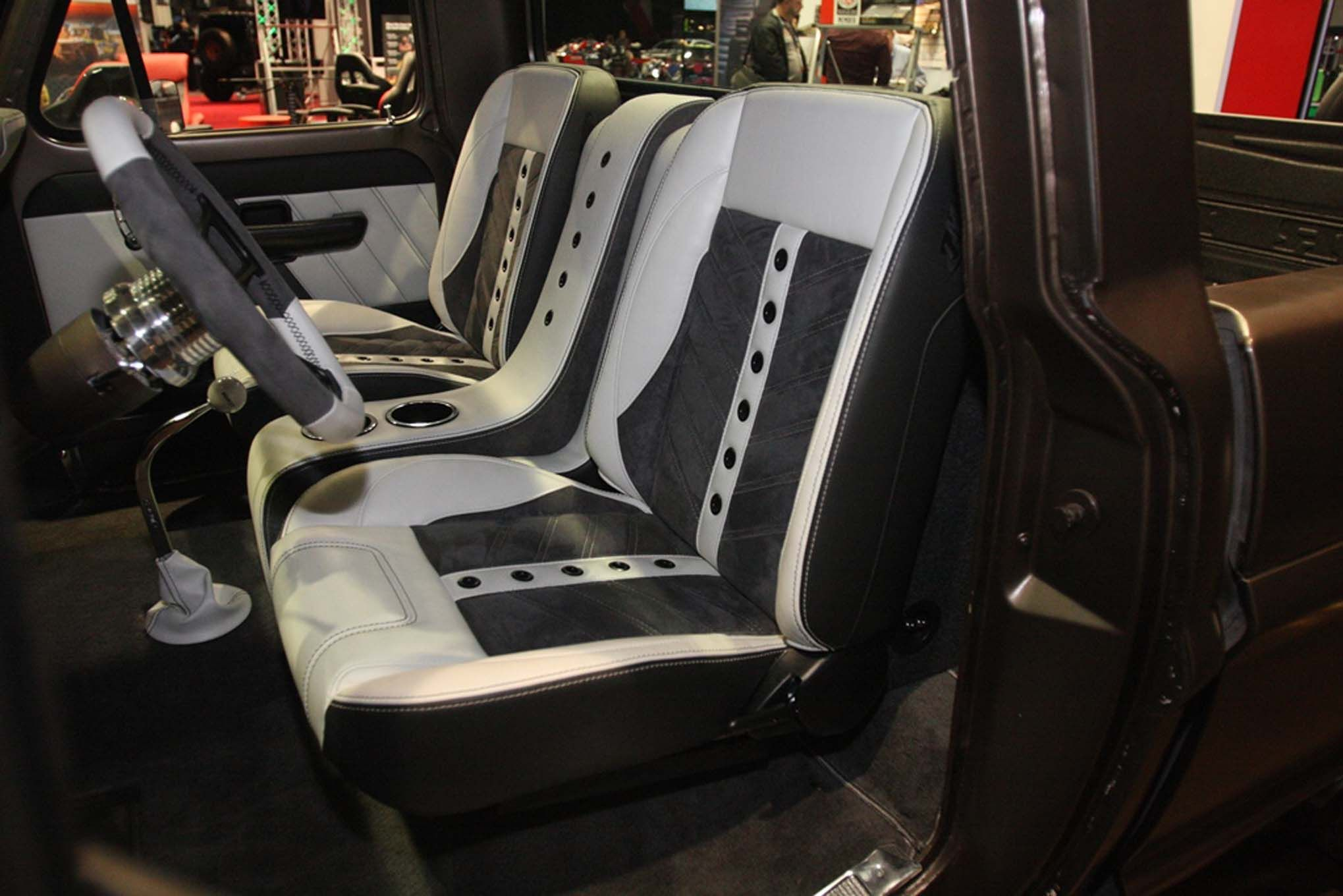 Awesome white interior seat covers marketing truck design