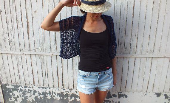 Navy Blue Shrug Summer Shrug Loose knit cotton summer shrug Beach ...