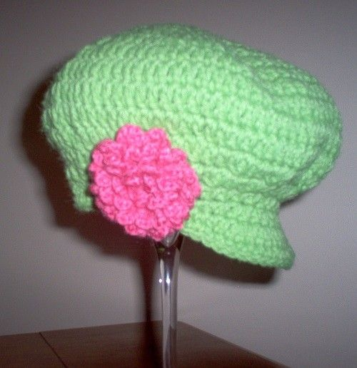 Crochet Hat with pink blossom