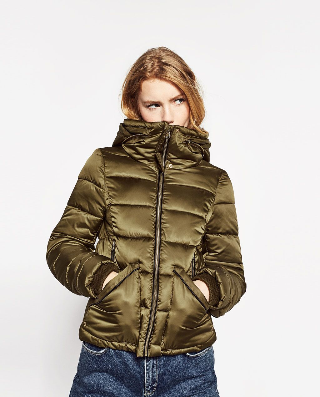 QUILTED FEATHER DOWN JACKET WITH FAUX FUR NECK COATS TRF