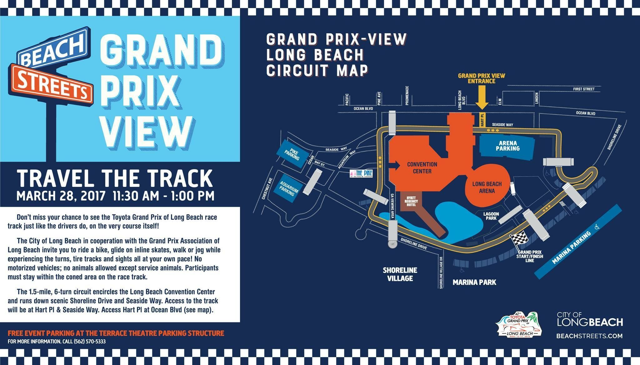 Long Beach Grand Prix Events - I want to see you out there! Join us during your lunch break for a stroll around the same track where the world's best Indy Car drivers will rocket by at over 180 mph. Beach Streets' Grand Prix View sponsored by the City of Long Beach is back! WHEN: Tuesday, March 28 TIME: 11:30 am to 1:00 pm WHERE: Toyota Grand Prix of Long Beach Track More info here >>> http://bit.ly/PrixView #LongBeachGrandPrix #LongBeachEvents #LifestylesofLongBeach #GrandPrixMap…