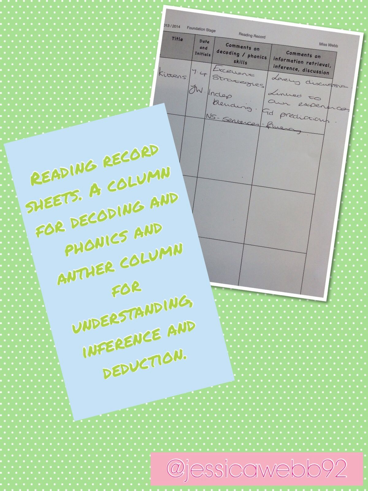 Reading Record Sheets One Column For Comments On Phonics