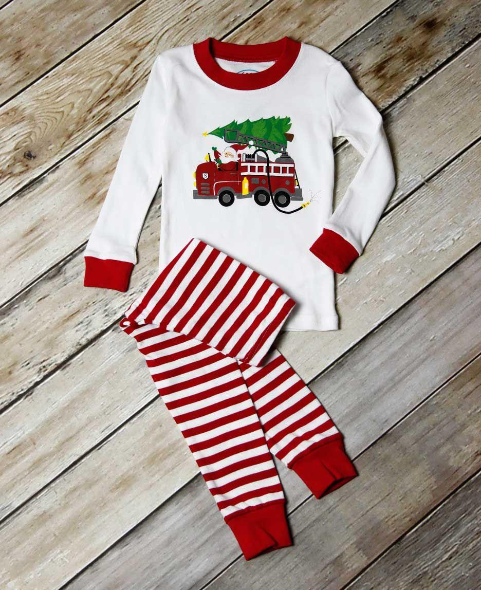 Sara S Prints Holiday Firetruck And Santa Long John Pajamas Holiday Pajamas Long Johns Pajamas Christmas Pajama Set