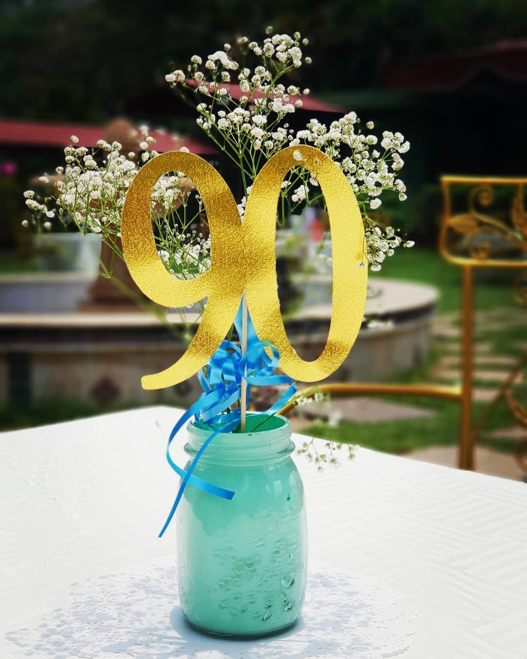 Mint And Gold Centerpieces For A Simple And Elegant 90th Birthday