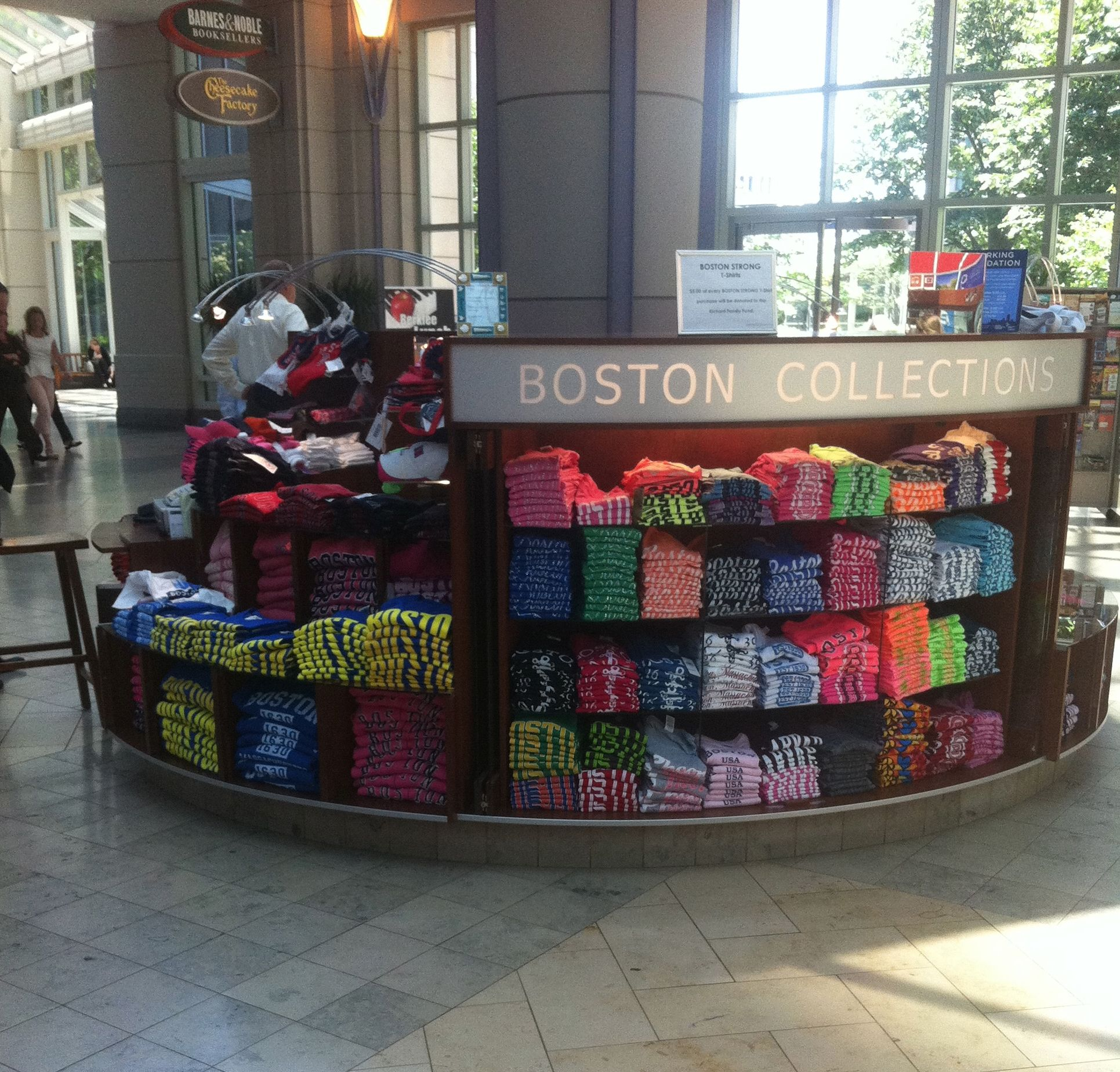Boston Collections T-shirts island at the Prudential Mall