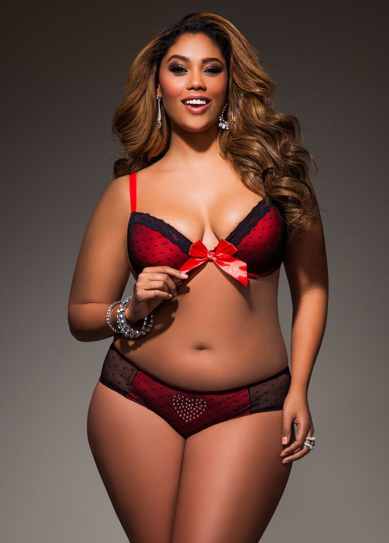 deb5ba25b1747 Queen of Hearts Lace and Mesh Bra - Ashley Stewart