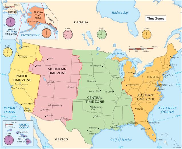 US Map - Map of the us zones