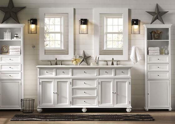 White Double Sink Bathroom Vanity Cabinets Stufurhome 60 inch