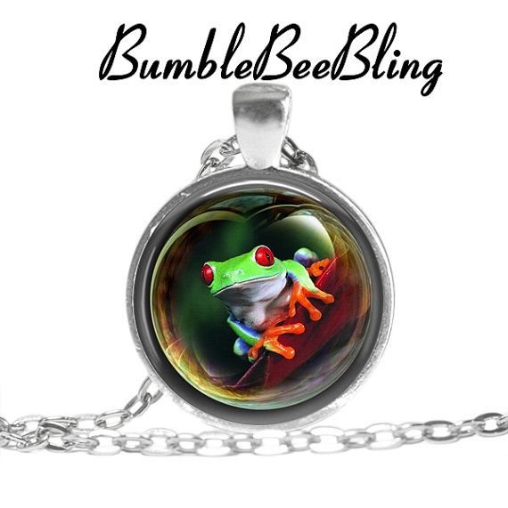 Frog Art Pendant  Frog Necklace  Colorful Frog by BumbleBeeBling, $10.00