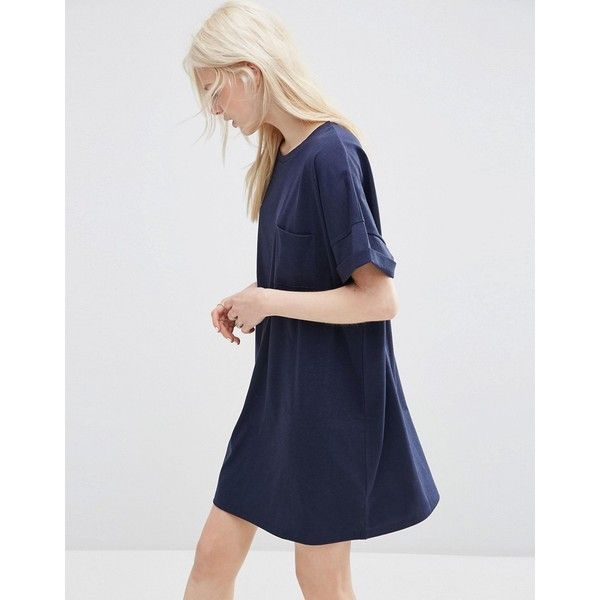 7220bf7b9f2c ASOS Casual Oversize T-shirt Dress with Pocket (455.380 IDR) ❤ liked on  Polyvore featuring dresses, navy, short sleeve t shirt dress, pocket dress,  ...