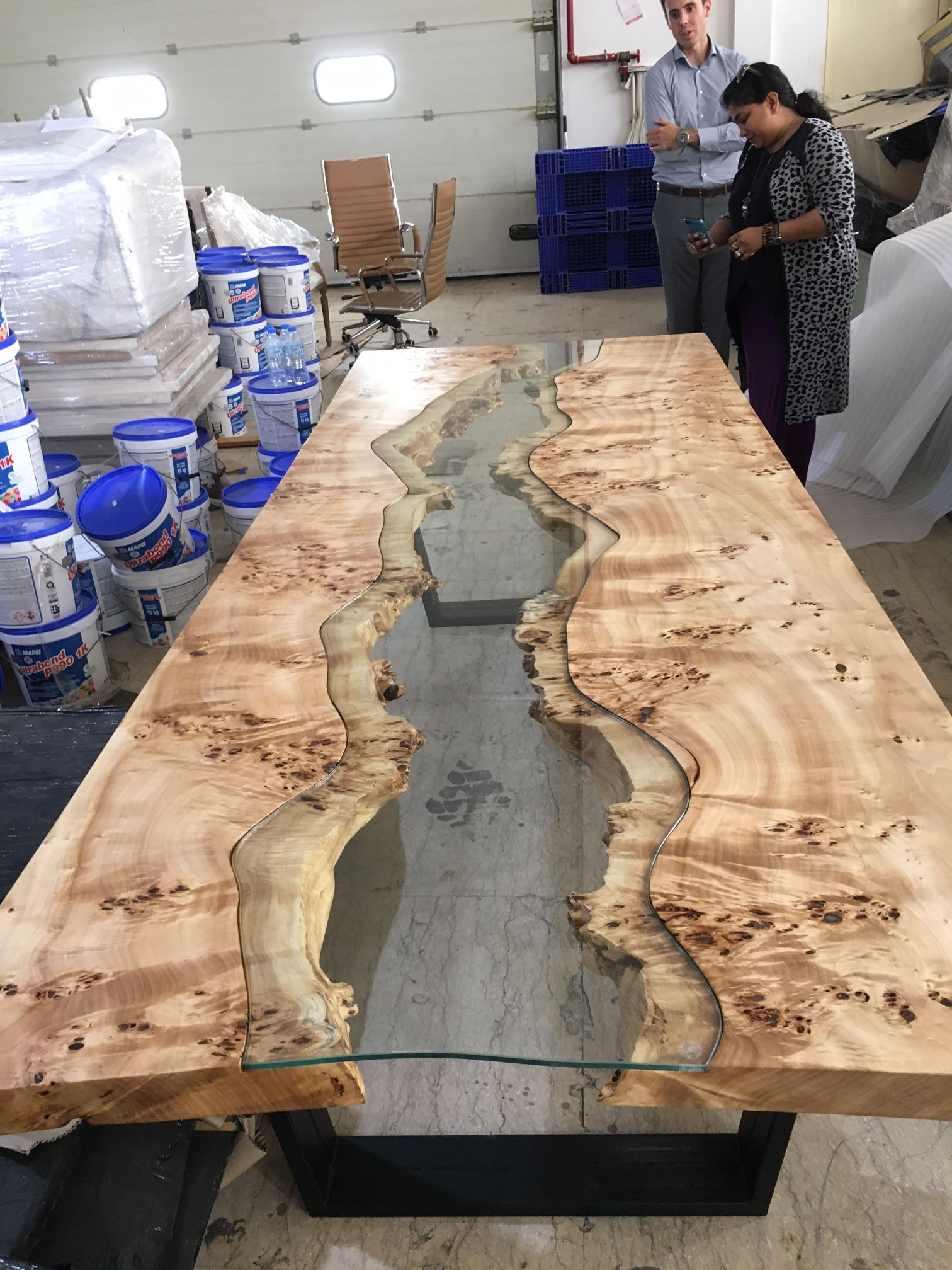 Live Edge Table With Glass And Poplar Burl Raw Timber