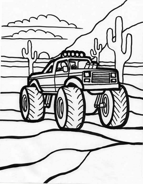 Monster Truck And Sunset Coloring Page : Kids Play Color ...
