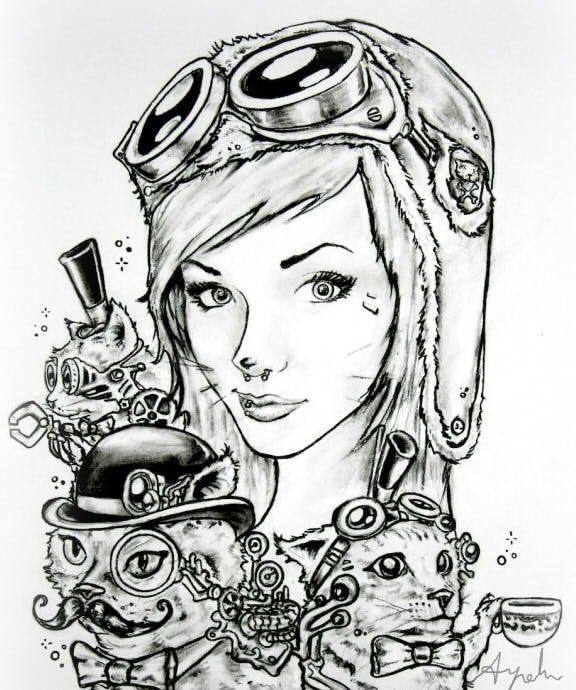 Steampunk Drawing By SkyLoa @DeviantArt