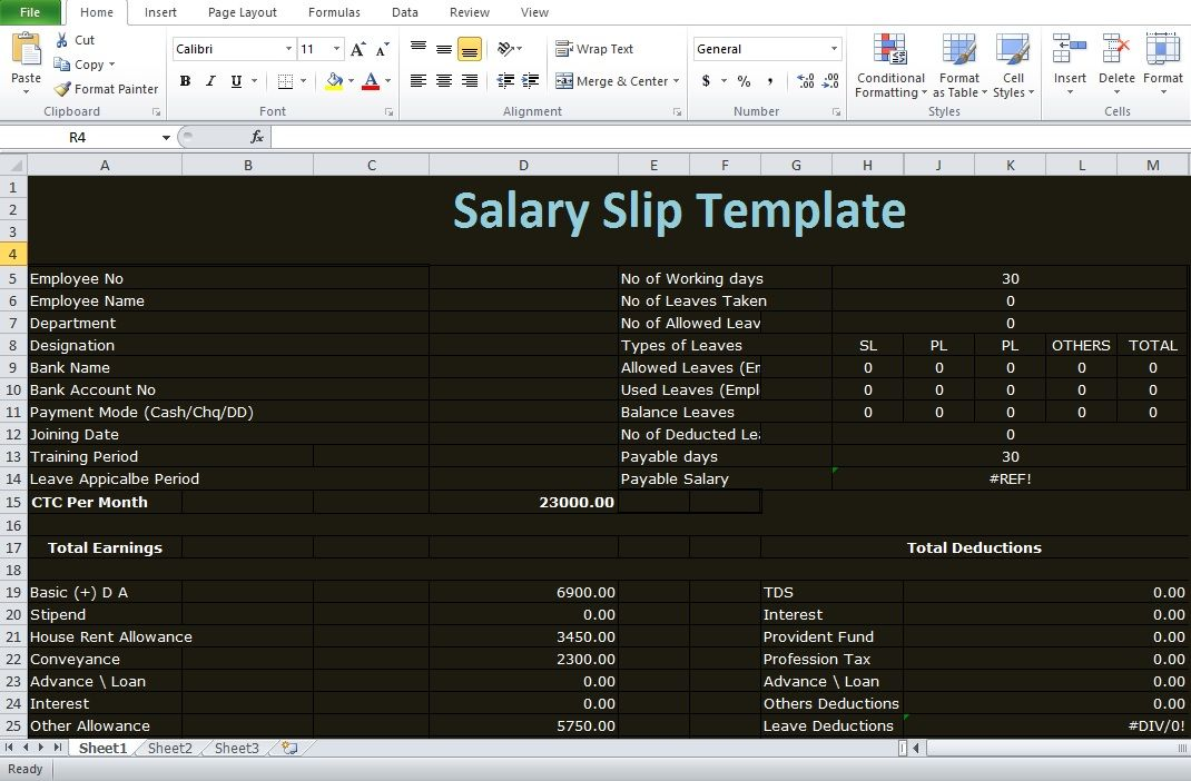 Driver Salary Receipt Excel Template Excel Templates Excel Salary