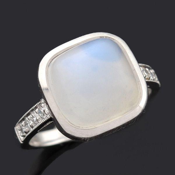 A. Brandt + Son - Art Deco 14k Moonstone & Diamond Ring