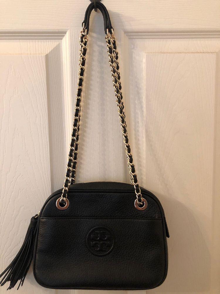 05c739cb489 fashion Tory Burch Bombe Crossbody w Chain-black Pebbled Leather-Tassel-NWT!