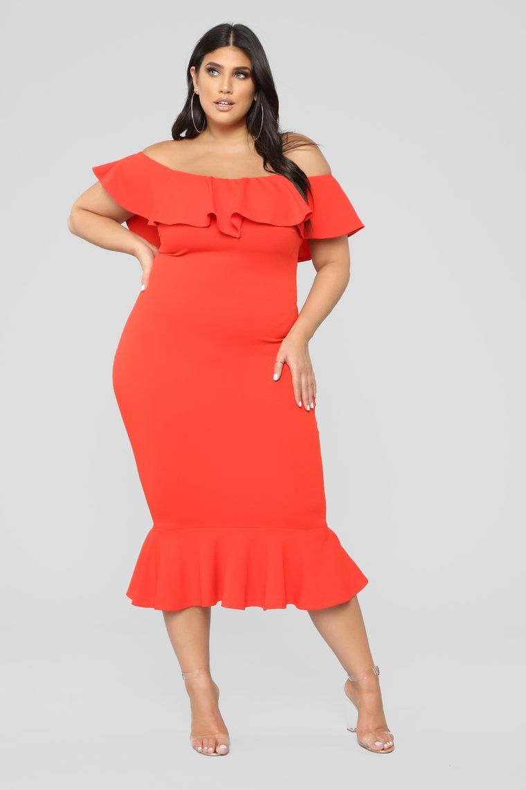 Moments like this ruffle dress coral red ruffle dress