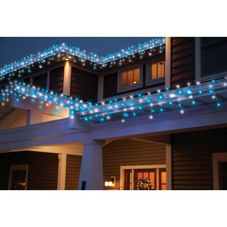 holiday time led random twinkle icicle light set white wire blue cool white bulbs