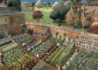English Walled Kitchen Garden Victorian Gardens Kitchen Garden Garden Illustration