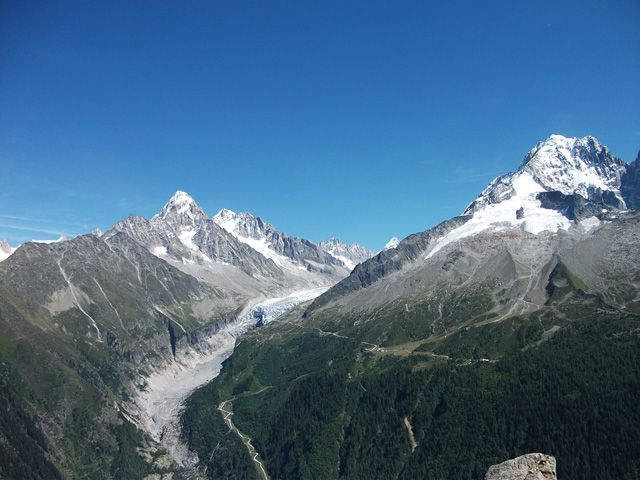 Some glaciers of the highest peak of Alps, the Mont Blanc, France - cuisine rouge et blanc photos