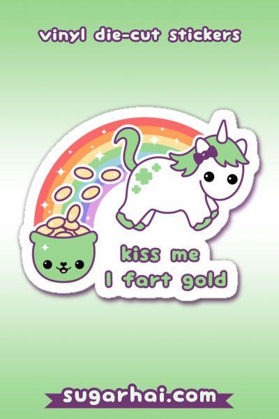 St Patrick S Day Unicorn Sticker By Sugarhai Cute Stickers