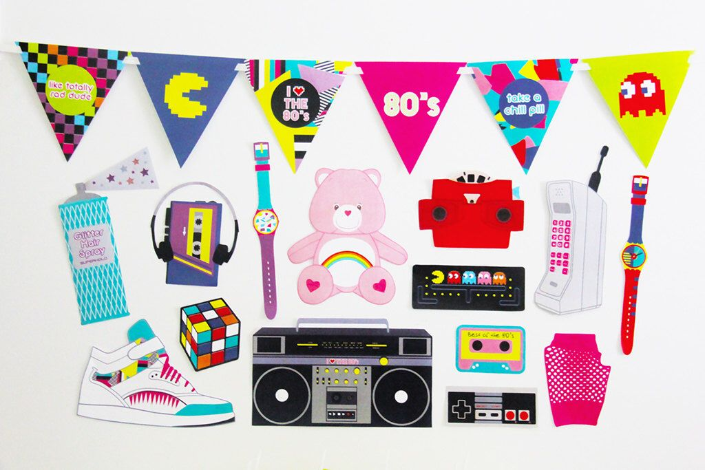 80s photo booth props 80s party decorations printable for 80s prom decoration ideas