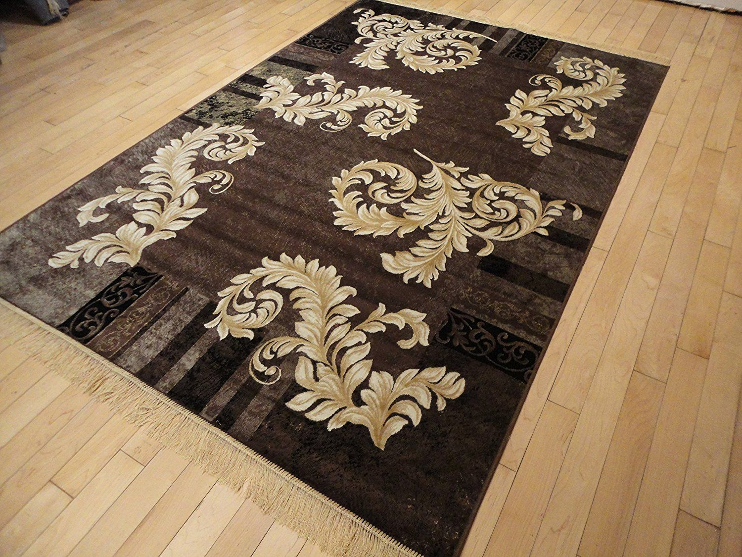 Silk Brown Ice Area Rugs 5x8 Modern Rug Dining Room Black Cream Gold