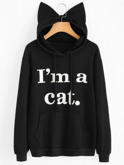 Front Pocket Letter Graphic Cat Hoodie | Pinterest | Anatomía