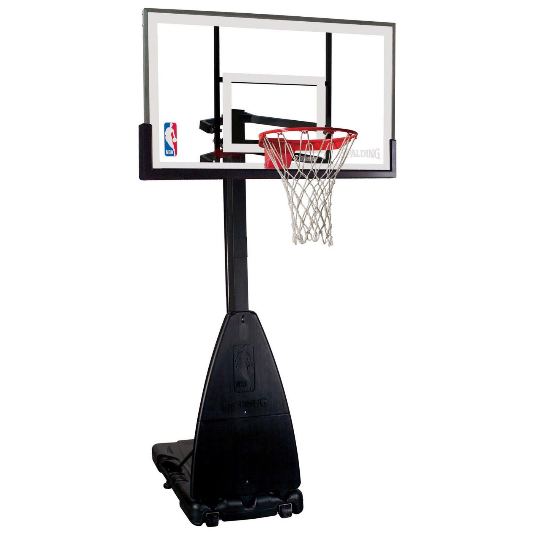 spalding 54 inch glass pro tek portable basketball hoop system