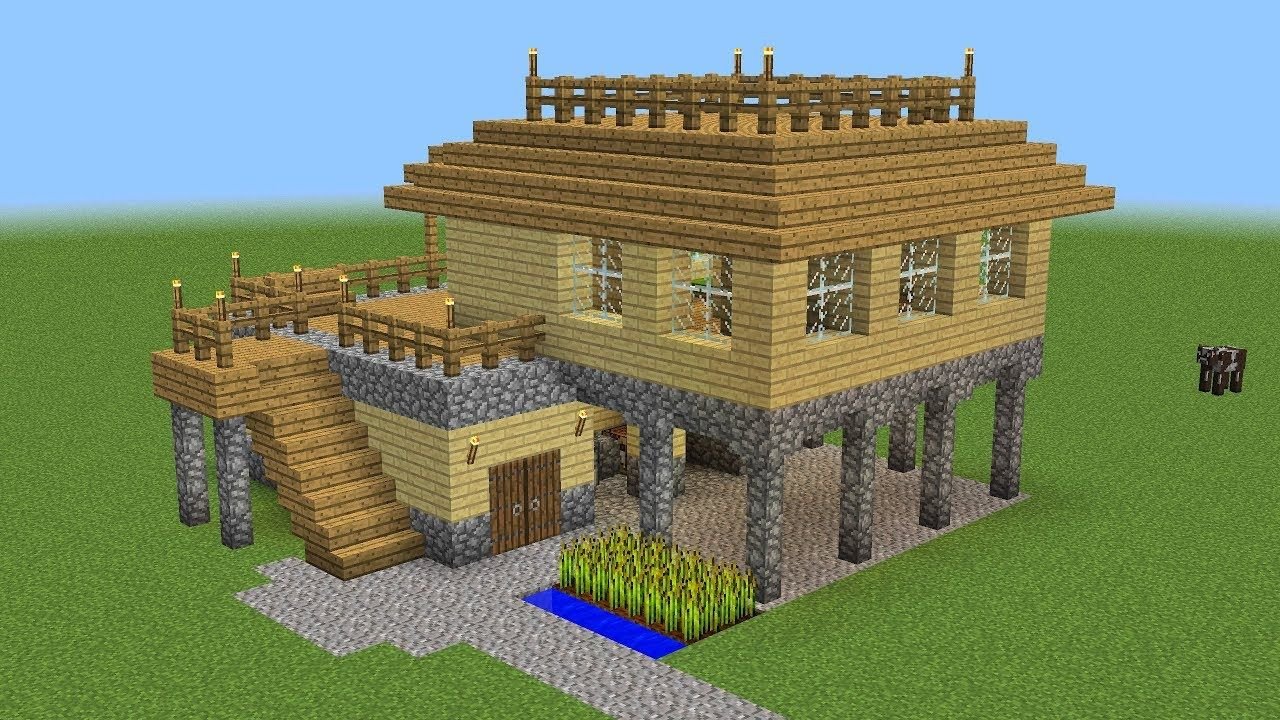 Minecraft how to build a survival house minecraft for Modele maison minecraft