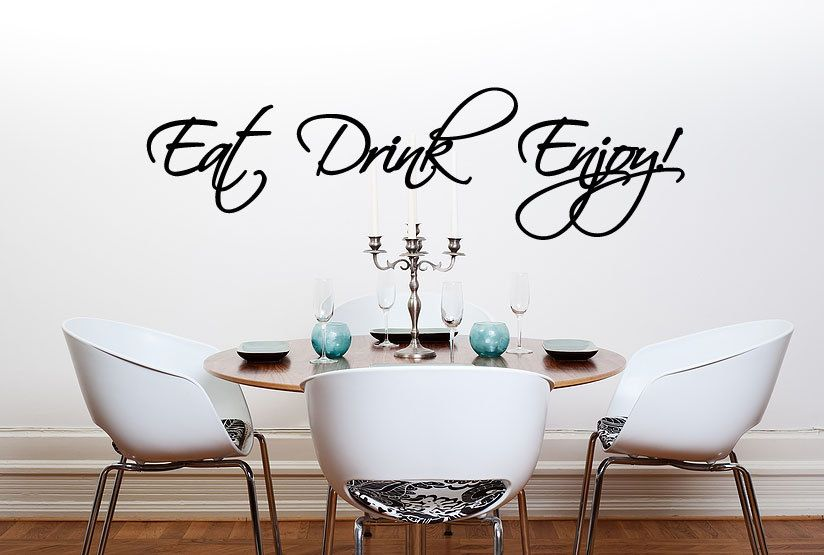 Eat Drink Enjoy Wall Quote Sticker Decal Dining Room Kitchen Home Fascinating Dining Room Wall Quotes Decorating Design