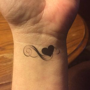 Heart fake tattoo infinity heart tattoo temporary tattoos set | Etsy