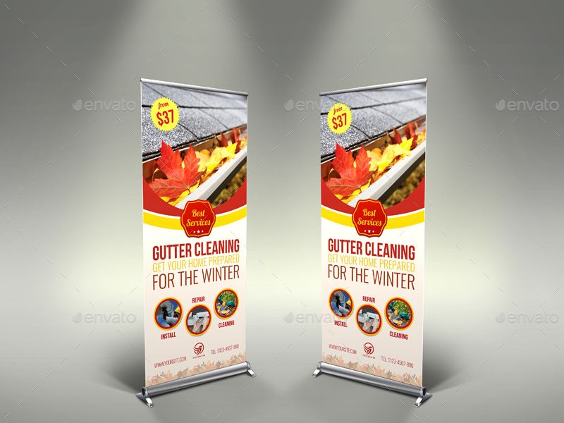Gutter Cleaning Services Signage Banner Roll Up Template Cleaning Gutters Cleaning Service Roll Up Design