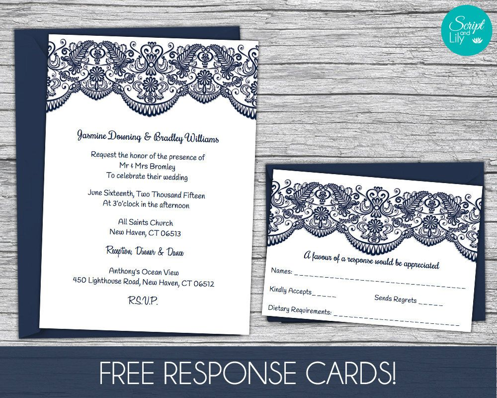 Lace Wedding Invitation Template | FREE Response Card Template ...