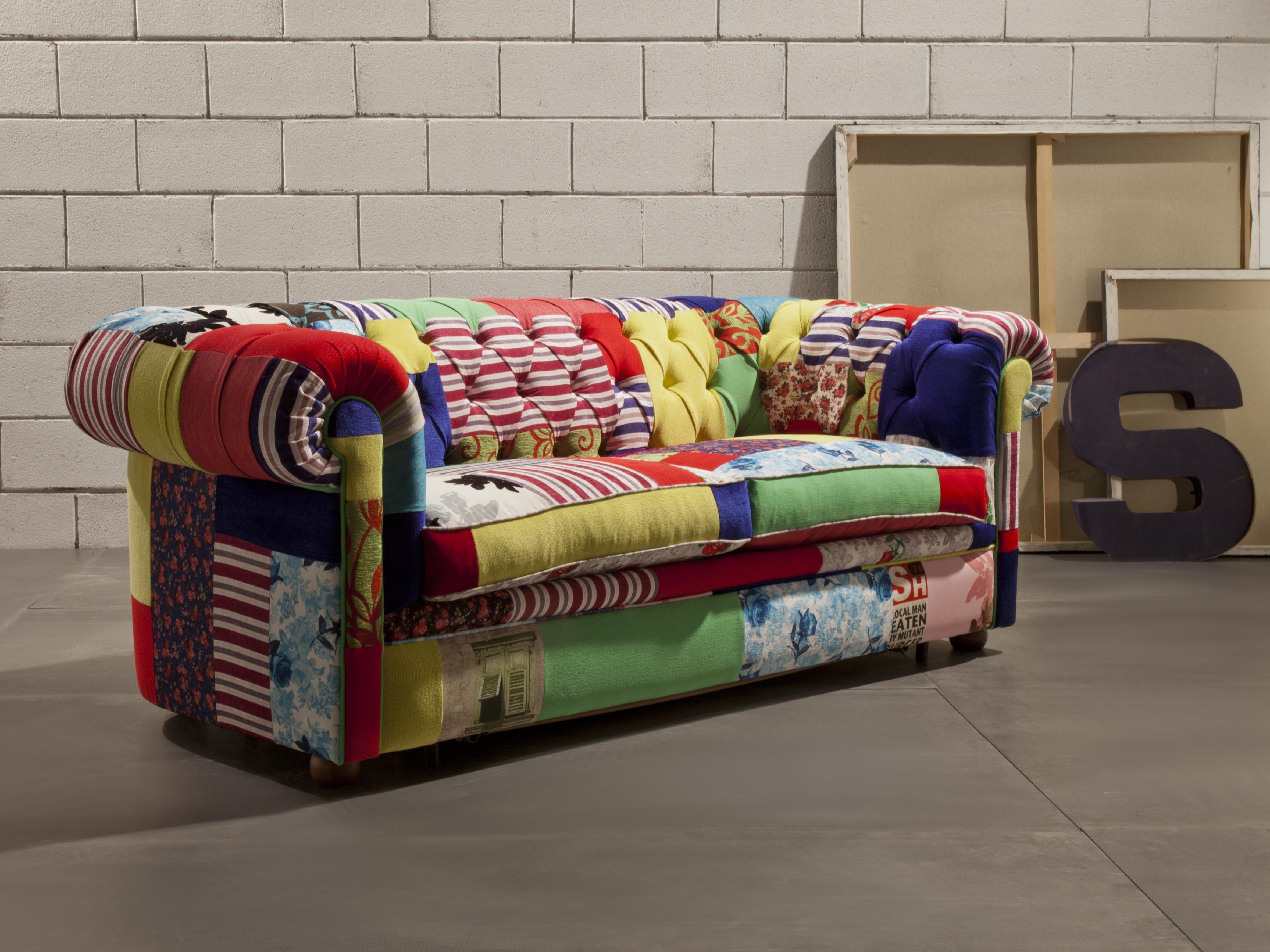 Divano Patchwork ~ Crazy chester lo produciamo anche come divano letto con rete a doghe