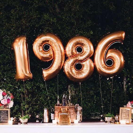 Balloons for year of birth great milestones party table decorations st th etc also rh pinterest