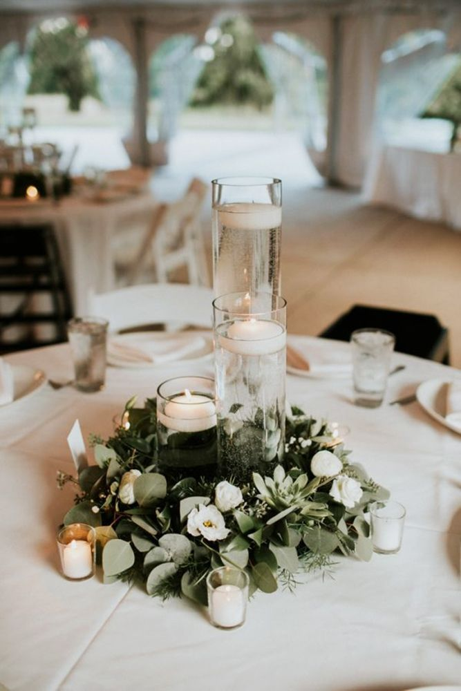 Large Candle Centerpiece Ideas : Budget friendly wedding trend greenery decor