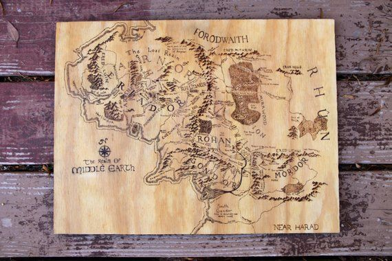 Woodburned Map of Middle Earth   wooden signs, map art, lotr, lord