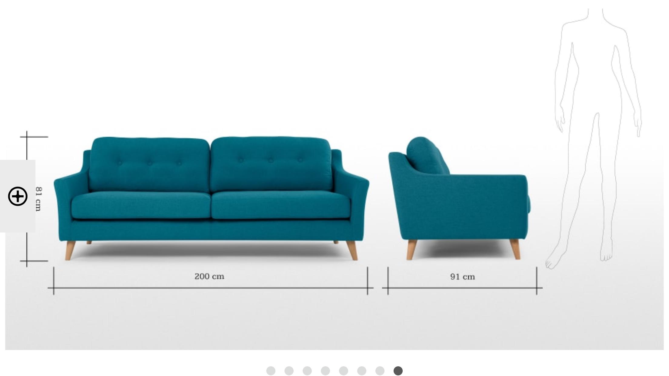 Anatol 3 Seater Retro Sofa Fabric Sofas