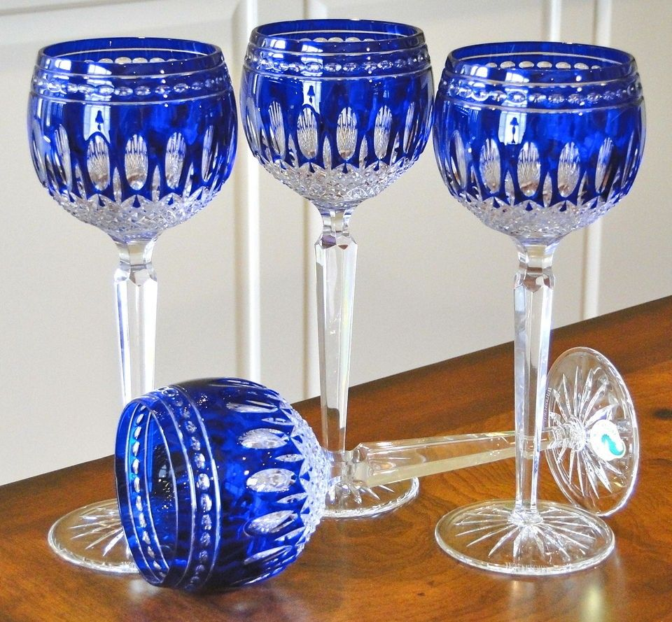 Waterford Cobalt Blue Cut To Clear Cased Crystal CLARENDON Wine Hock Goblet ~ 2