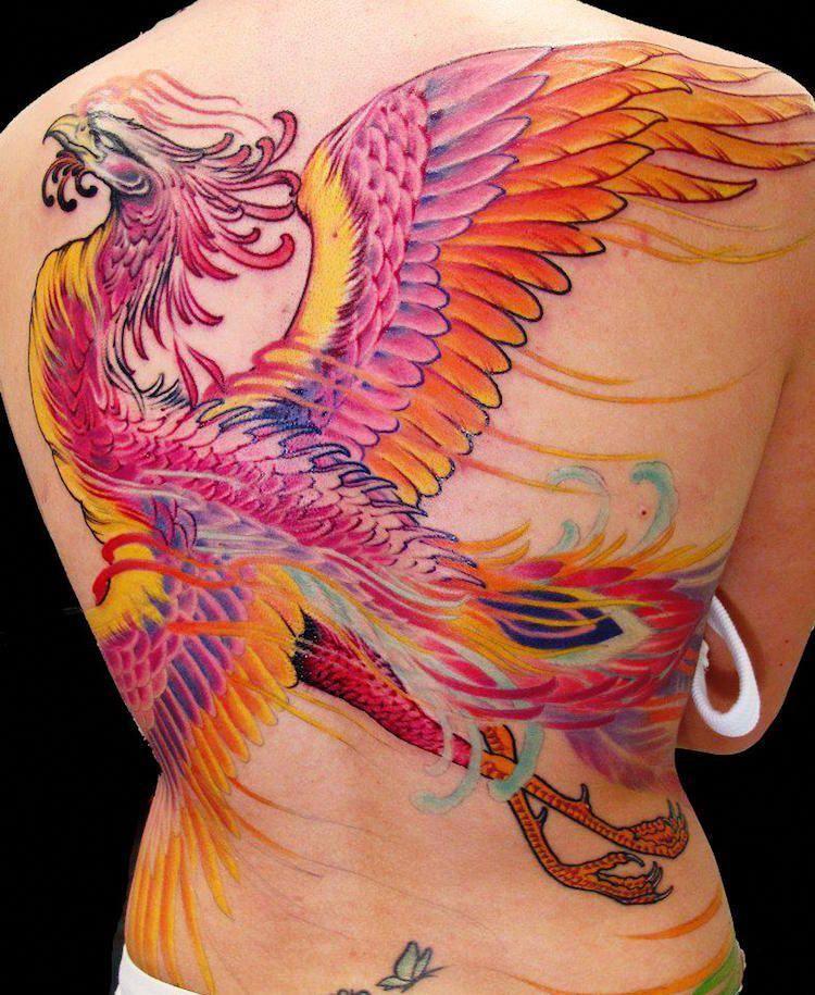 tatouage-phoenix-femme-phoenix-japonais-dos #lowerbacktattoos