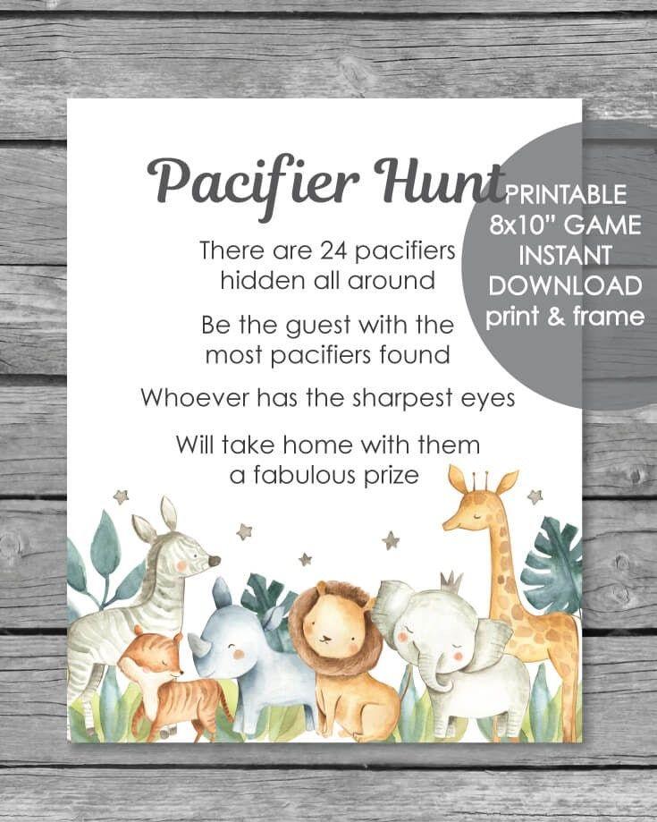 Printable Pacifier Hunt Game Sign – Jungle Safari Animals Watercolor