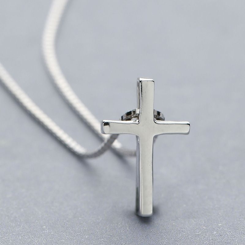 NEW Solid .925 Sterling Silver Cross Religious Necklace Pendant Women Jewelry