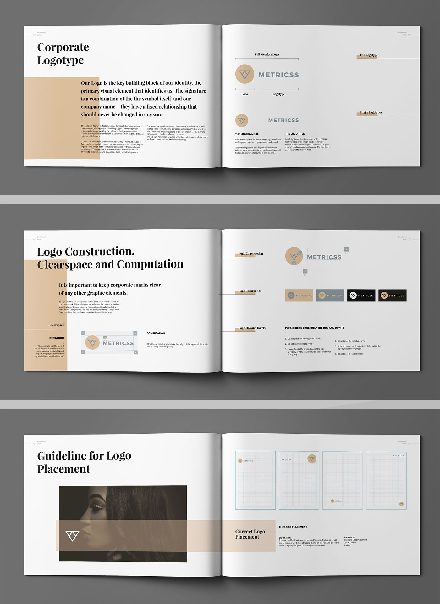 brand manual and identity template corporate design brochure with real text minimal and. Black Bedroom Furniture Sets. Home Design Ideas