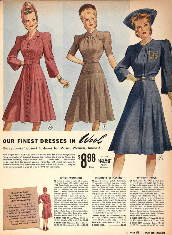 55f781f7f65d6 1941 Sears Wool Dresses 40s day dresses photo print ad models ...