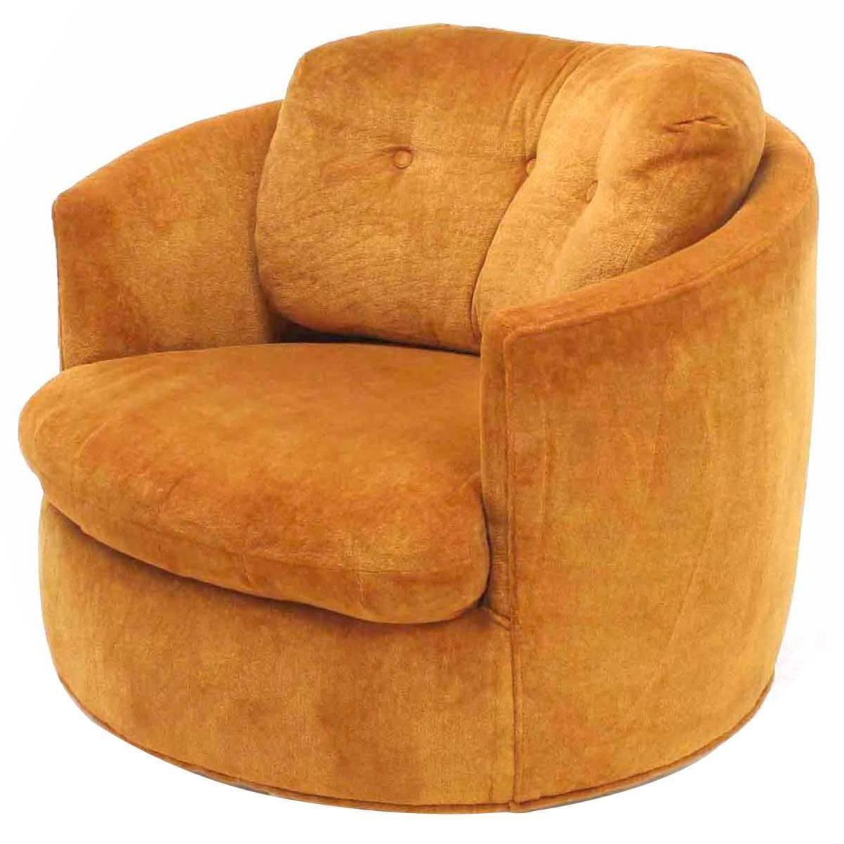 Mid Century Modern Round Barrel Back Swivel Lounge Chair | From A Unique  Collection Of