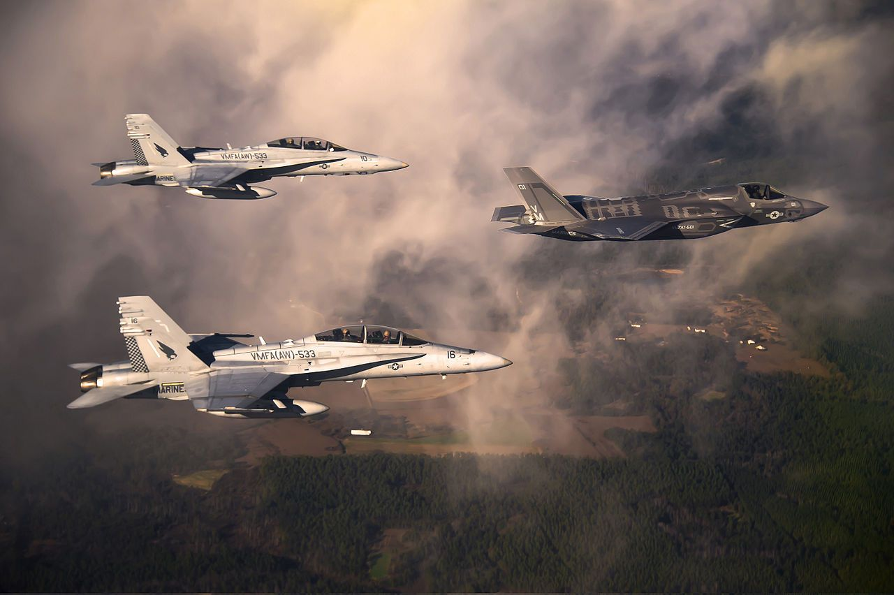 The Lightning accompanied by two Hornets, which it will eventually replace.